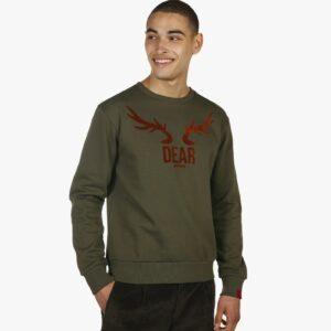 dardennencollectie, antwrp, dardennen, ardenne, sweater, ronde hals, groene sweater, leuke fleece print, hert gaan,
